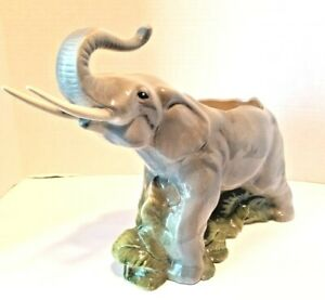 Large-Vintage-Majestic-Elephant-Planter-with-Raised-Trunk
