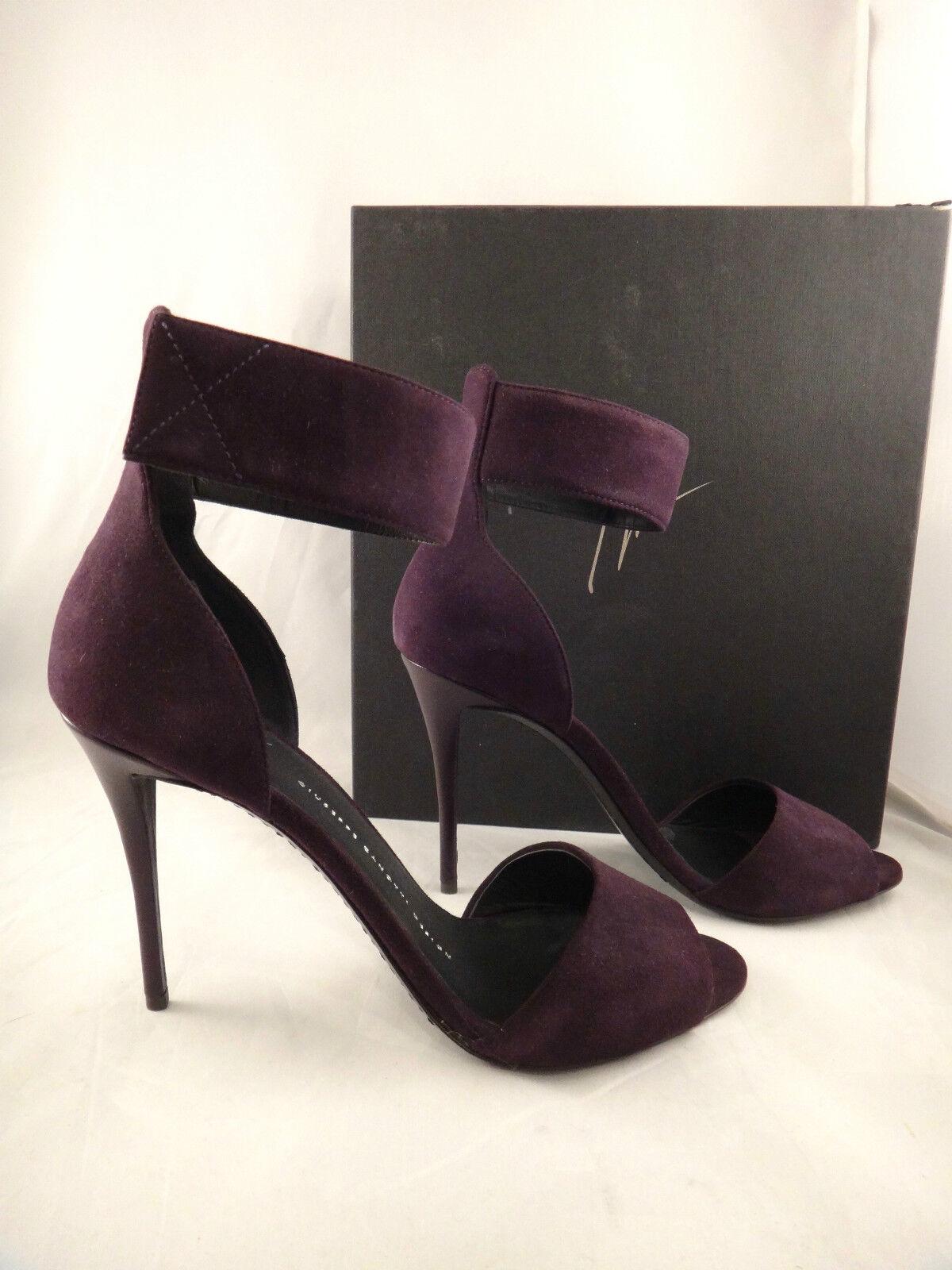 Nuevo En Caja Giuseppe Zanotti Coline Coline Coline 100 púrpura Gamuza y Correa en el tobillo Tacones Zapatos De Salón 40  815  hasta 42% de descuento