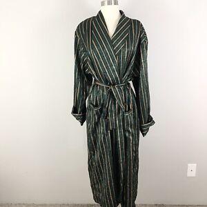Vintage-Victorias-Secret-medium-large-Long-Satin-Robe-Green-Gold-Stripe