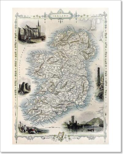 C Ireland Old Map Art Print Home Decor Wall Art Poster