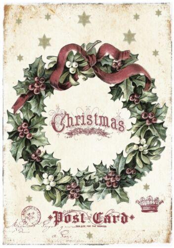Decoupage-Bastelpapier-Softpapier-Vintage-Shabby-Weihnachten-Kranz-12567