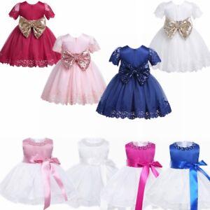 Newborn-Baby-Flower-Girls-Birthday-Party-Princess-Tutu-Kids-Bow-Wedding-Dress
