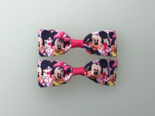 Mini Mickey Minnie Hair Bows with Alligator Clips