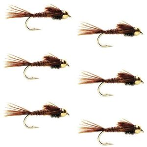 6 Flies Hook Size 16 Fly Fishing Flies Pheasant Tail Bead Head Nymph Fly