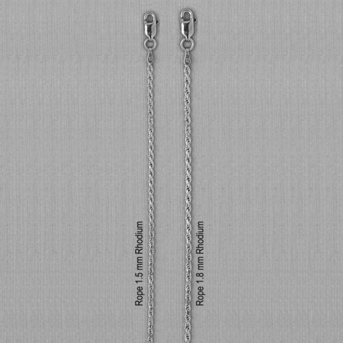 ITALY 925 Sterling Silver ROPE Chain Necklace-Rhodium Plated Over Solid Silver