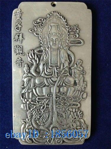 Chinese Old Boy worship Guanyin tibet Silver Bullion thanka amulet 135g