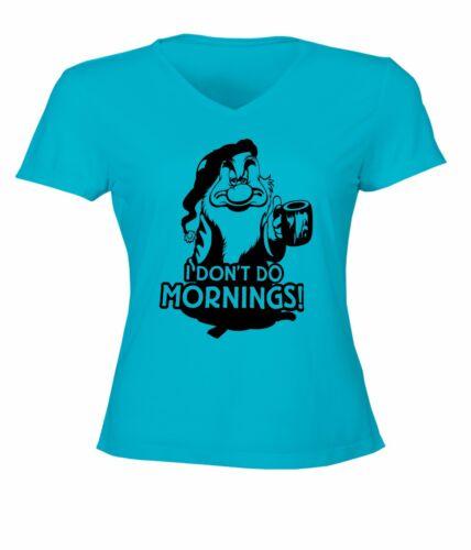 Womens Juniors V-Neck Top Tee T-Shirt Seven Dwarfs Grumpy I Don/'t Do Mornings