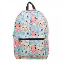 1x Bioworld All Over Print Kanto Starters Pastel Sublimated Pokemon Go Backpack