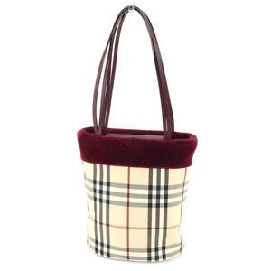 7094f6e5cf Image is loading Burberry-Tote-bag-Beige-Red-Woman-Authentic-Used-