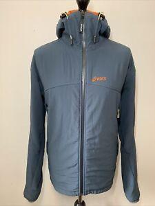 ASICS Vintage Retro 90's Blue Grey Zip Top Hooded Jacket Coat Windbreaker XL