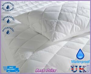 New-Luxury-Waterproof-Deep-Fitted-Quilted-Mattress-amp-Pillow-Protector-All-Sizes
