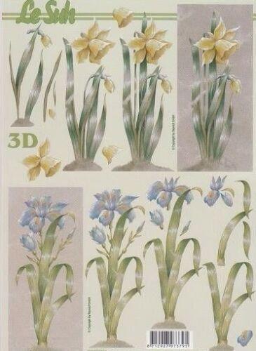 2 A4 Hojas le Suh non-Die-Cut Decoupage 777.054 Daffodil /& Iris