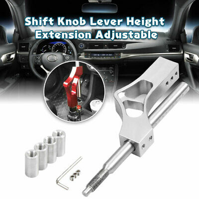 Qiilu Shift Knob Height Adjuster Shift Extension Shifter Knob with Adapters Stainless Steel Height Lever Extension Gear Shifter Extender Kit for Honda Manual Shift Knob