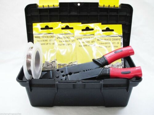 Fishing Crimping Set in Carry Box 200 Assorted Crimps Pliers Wire Trace for rigs