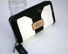 NWT GUESS Women's Belvedere SLG Zip Around Clutch Wallet / Black & White