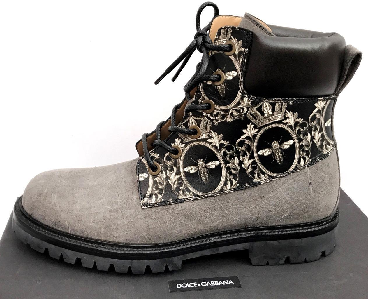 Dolce Gabbana Leather Boots UK10.5 IT44.5, US11.5 RP790GBP Black/Grey New Auth