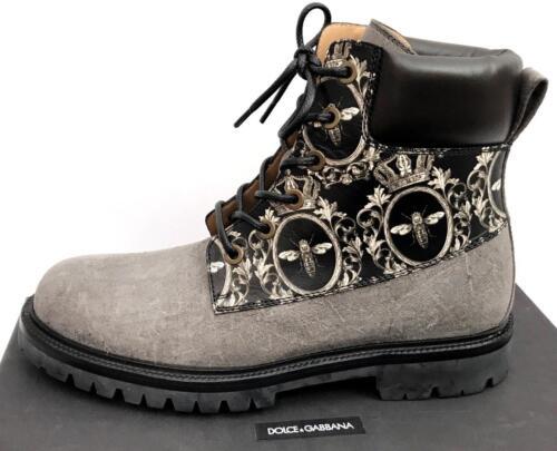 en New Rp790gbp Bottes Gris cuir Noir Auth It43 Us10 Gabbana Dolce Uk9 UZfwd