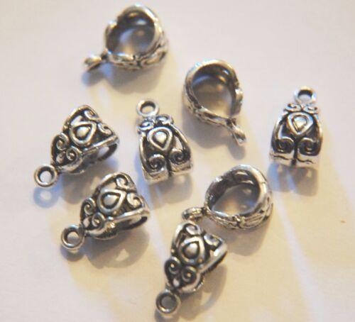 15 X Tibetano Plata Antiqued había Decorativo Colgador de corazón Celta fianza grano ~ 14mm