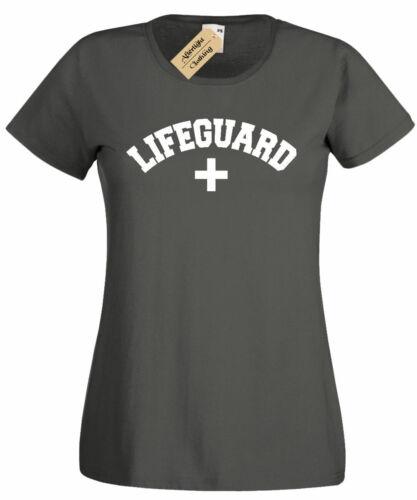 Womens Lifeguard T-Shirt Beach Summer Work Uniform ladies top gift