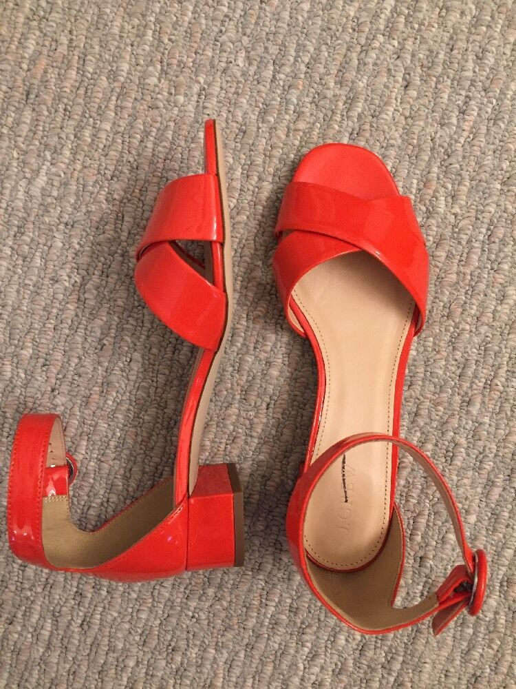 168 JCREW Patent leather cross-strap sandals F9506 Vibrant orange 8 SOLD-OUT
