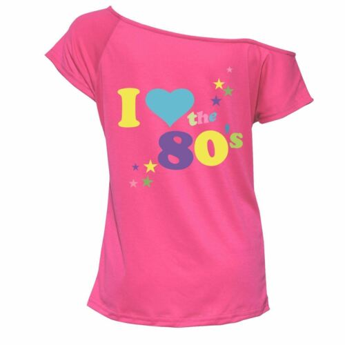 Ladies Cap Sleeve I Love the 80s Top Womens Retro Fancy Night Party Tshirt