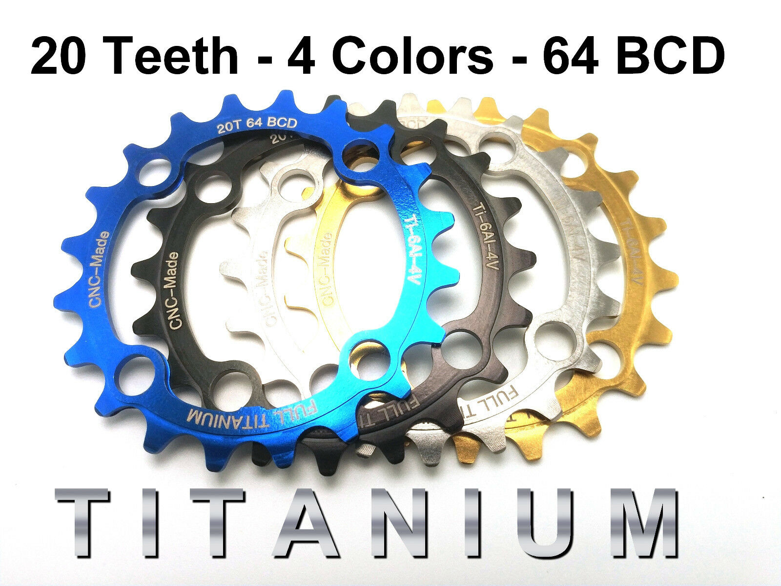 20T TITANIUM Chainring  64 BCD  43% lighter 17% torque  4 Colorees