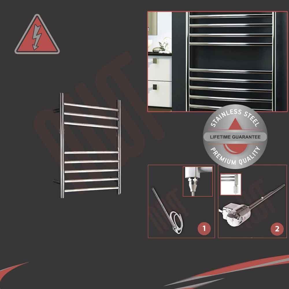 350mm (w) x 600mm (h) electric 150W en acier inoxydable poli porte-serviettes pré-remplie