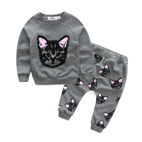 Toddler Kid Baby Girl Cat Tops Casual Tracksuit Trousers Pants Clothes Outfits