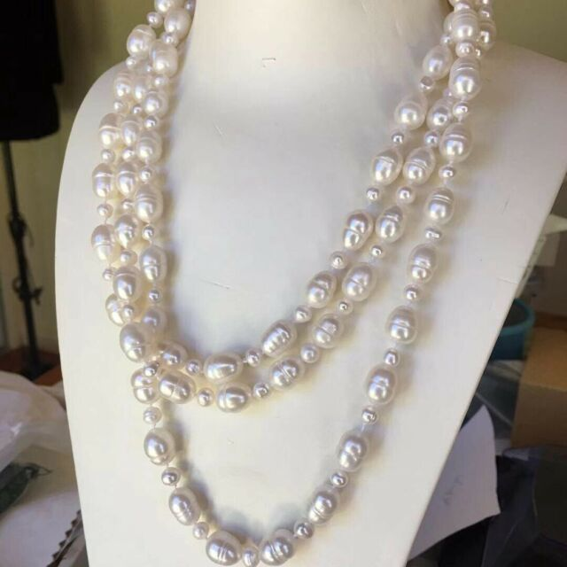 "Long 150cm/59"" 8-9.5x11-12mm & 5-6mm baroque white freshwater pearl necklace"