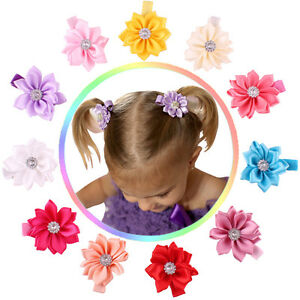 11pcs kids baby girl infant toddler flower hair bow clips