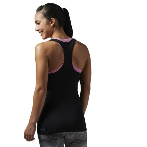 Reebok Womens Work Out Ready Sleeveless Gym Vest Racerback Sports Tank Top Black