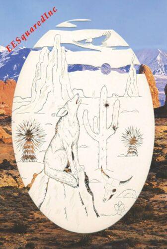 Wolf in Desert Static Cling Window Decal OVAL 8x12 Southwestern Glass Door Decor