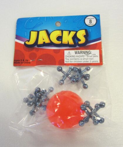 100 SETS OF METAL STEEL JACKS  AND SUPER RED RUBBER BALL GAME  CLASSIC KIDS TOY