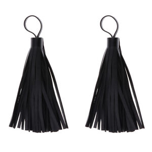 2Pieces Leather Tassels DIY Jewelry Findings Key Chain Ring Bags Charms