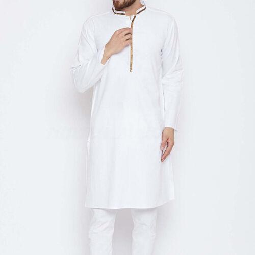 Mens Saudi Kaftan Kurta Shirt Causal Tops Long Sleeve T-shirt Tunic Dress Kaftan