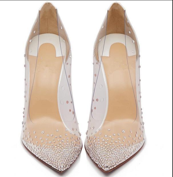 2019 Womens Transparent rhinestone pointed toe high heel shoes sexy stilettos