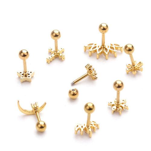 Crystal Bar Barbell Ear Cartilage Tragus Helix Studs Piercing Earrings JewelryTR