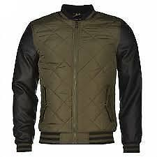 Faux Bomber Mens Sleeve Cooper S Leather Jacket Lee Taille Uk Khaki Quilted Sm w5q4I11