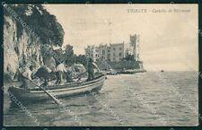 Trieste Città Barca Castello Miramar STRAPPINO PIEGA cartolina QT3019