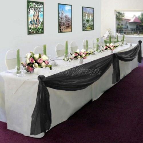 BLACK Elegant Wedding Table Valance Chair Decor Sheer Swags Fabric Any Party