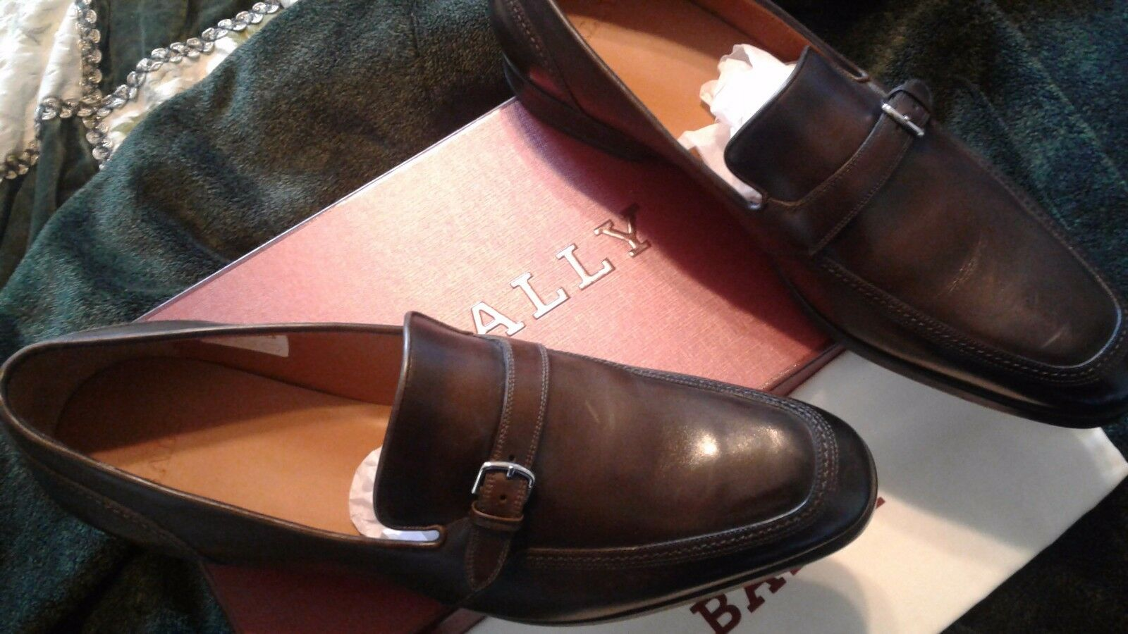 525 Bally Leather MONK Loafers Loafers Loafers Größe US 11 HAND Made in SWITZERLAND 64e093