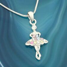 Ballerina  W Swarovski Crystal Multi Color Ballet Dancer Pendant Necklace