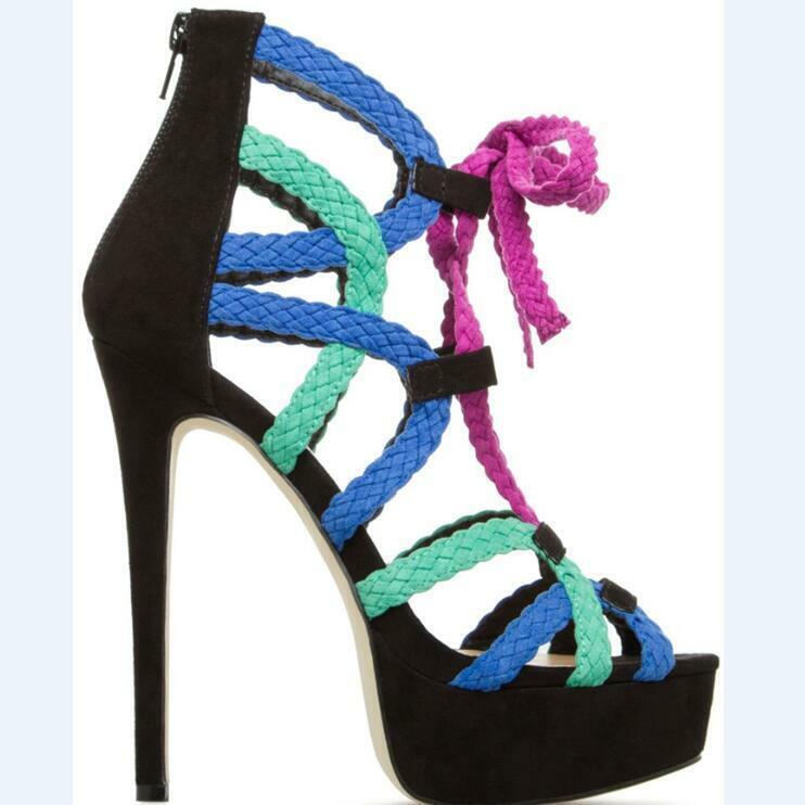 Kvinnor Lace Up Stiletto Super High klackar Platform Sandals Sandals Sandals Party Causal Prom skor  de senaste modellerna