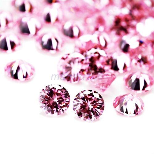 Rose Clair Zircone Libre Pierres Cristal Cz Rond Brillant Perle Pierreries