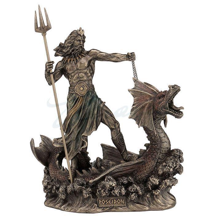 POSEIDON CON TRIDENTE Hipocampo Estatua Figura Escultura de pie en