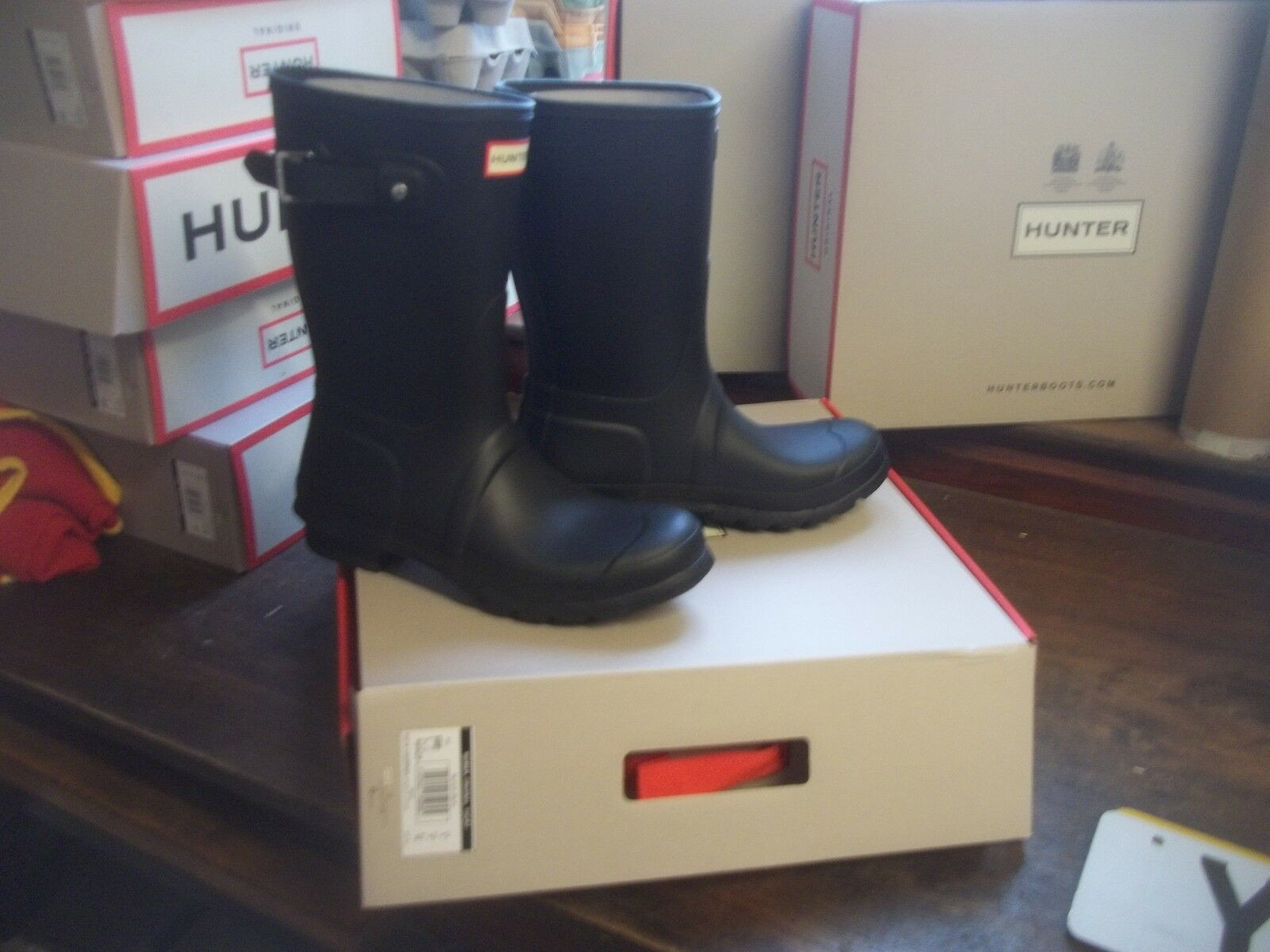 HUNTER WELLINGTONS IN HALIFAX & BRADFORD  Größe 7 7 7  MATT  schwarz  SHORT LADIES 8804df