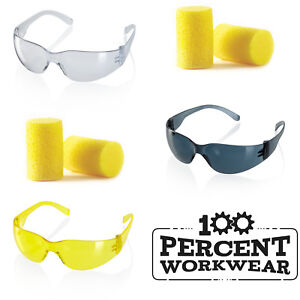 Safety-Specs-Spectacles-Glasses-EN166-Clear-Smoke-Yellow-or-Disposable-Ear-Plugs