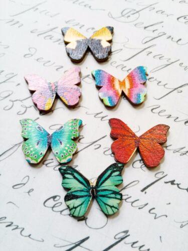 4 Wood Cabochons Flatbacks Butterfly Flat Backs Embellishments Assorted Lot