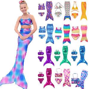 Image is loading Kids-Girls-Swimmable-Mermaid-Tail-Swimsuit-Bikini-Swimwear- ab36474dd396