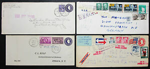 Postal-History-Set-of-4-US-Covers-Letters-Stamps-GS-Rnd-Lupo-USA-H-8224